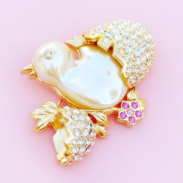Vintage Gilded Hatching Baby Chick Figural Brooch with Swarovski Crystals by Nolan Miller, 1980s