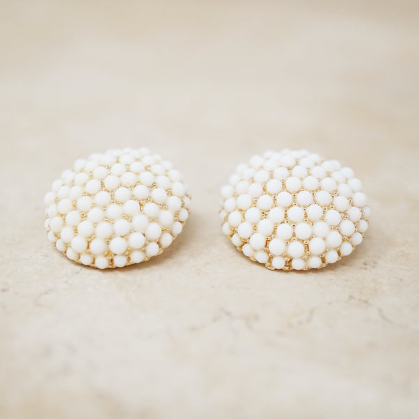 Vintage White & Gold Dome Statement Earrings, 1960s