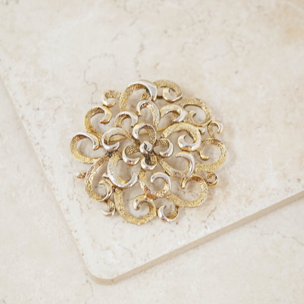 Vintage Ornate Gold Swirl Brooch, 1960s