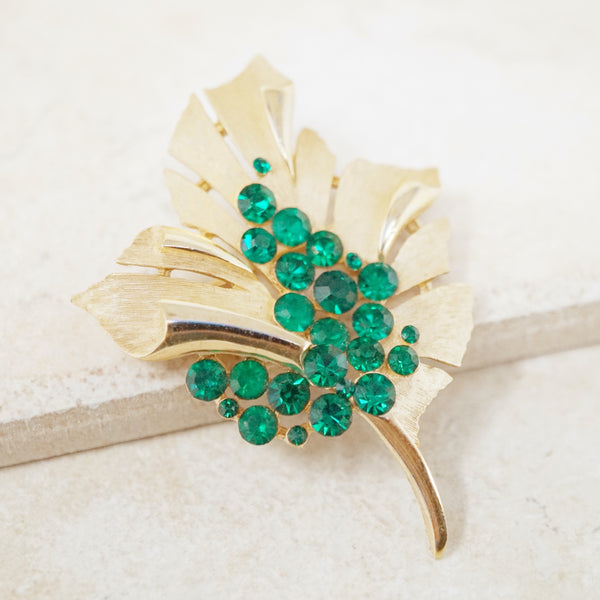 Vintage Gilt & Emerald Crystal Leaf Brooch by Crown Trifari, 1950s