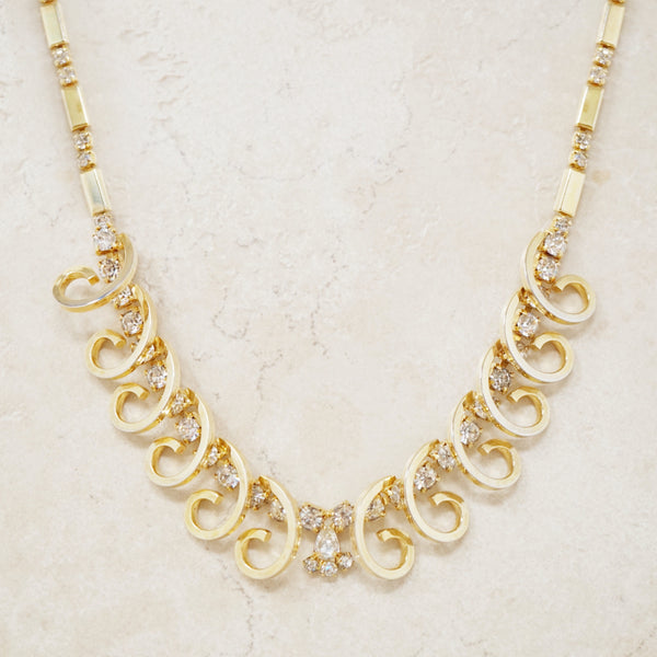 "Vintage Gilded Swirl ""Celestial Fire"" Rhinestone Choker Necklace by Sarah Coventry, 1950s"