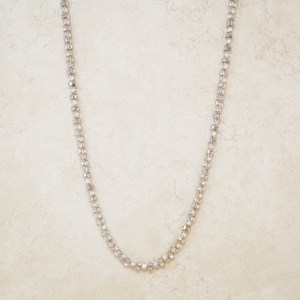 Vintage Rhinestone Twist Layering Necklace, 1950s
