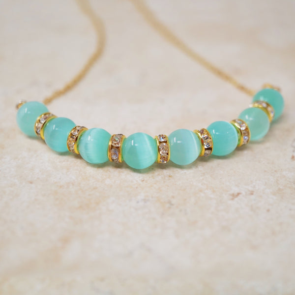 Mint Cat's Eye Gemstone Bar Necklace