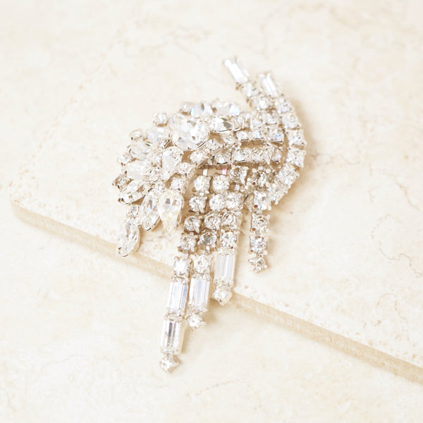 Vintage Baguette Crystal & Rhinestone Dangle Abstract Statement Brooch by Kramer, 1950s