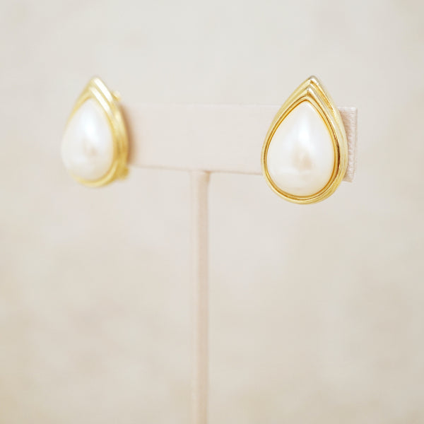 Vintage Puffy Pearl Teardrop Earrings by Monet, 1980s