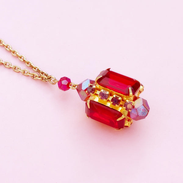 Vintage Ruby Red Emerald Cut Crystal Pendant Necklace with Aurora Borealis Accents, 1960s