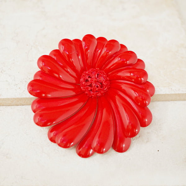 Vintage Oversized Red Flower Brooch, 1960s
