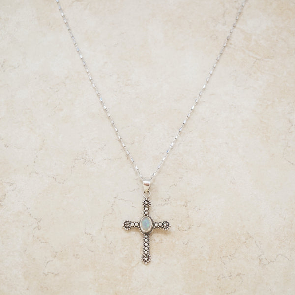 Vintage Opal & Sterling Silver Cross Necklace