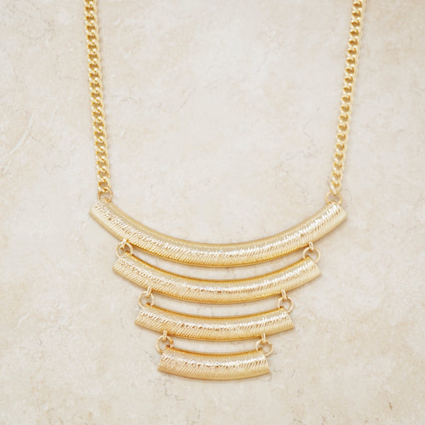Gold Textured Statement Necklace
