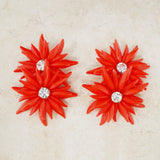 Vintage Red Plastic Flower Statement Earrings, 1960s