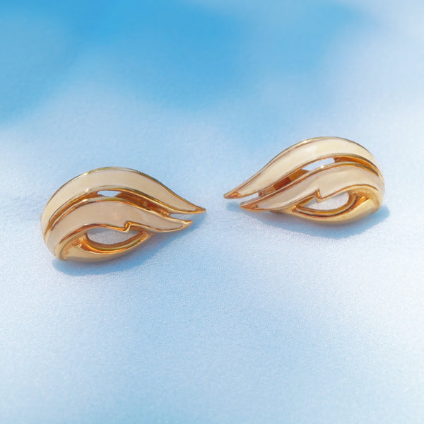Vintage Gilded Cream Enamel Abstract Crawler Earrings by Monet, 1980s