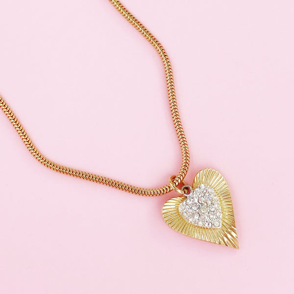 Gilded Art Deco Style Heart Pendant Necklace On Snake Chain By Coro, 1950s