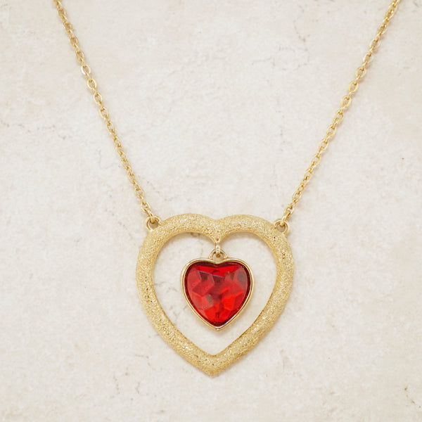 Vintage Floating Crystal Heart Necklace, 1980s