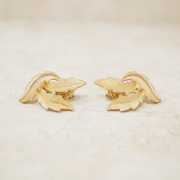 Vintage Trifari 1960s Crawling Leaves Earrings