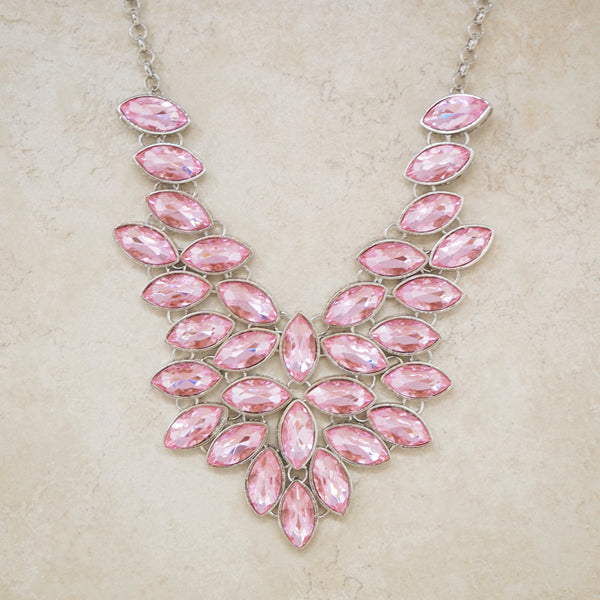 Pink Crystal Bib Statement Necklace