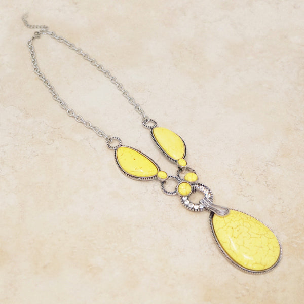Yellow Howlite Statement Necklace