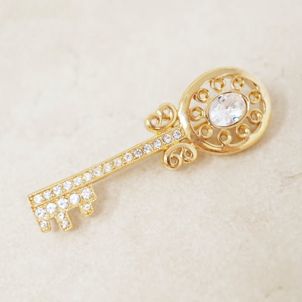 Vintage Gold Key Brooch with Crystal Accents, 1980s