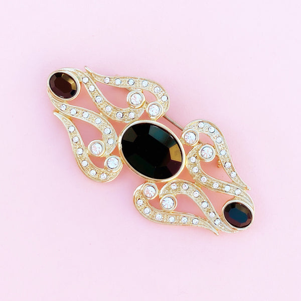 Vintage Gilded Art Deco Style Onyx & Crystal Brooch, 1980s