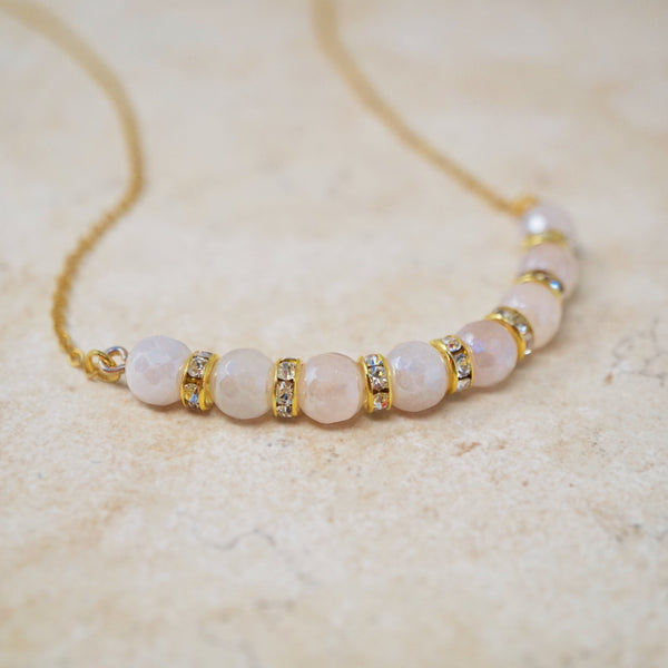 Mystic Rose Quartz Gemstone Bar Necklace