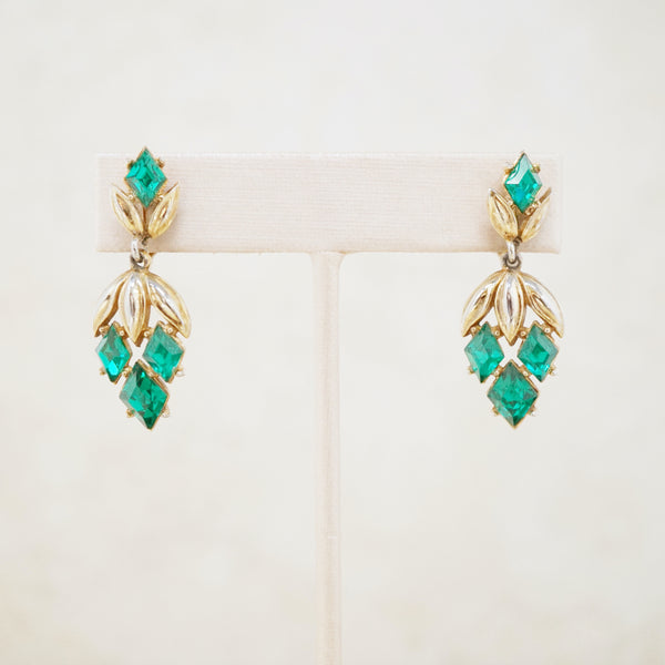 Vintage Gilt & Emerald Crystal Dangle Earrings by Crown Trifari, 1950s