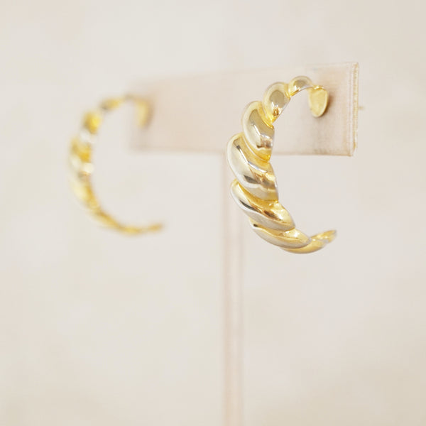 Vintage Braided Gold Half Hoop Earrings