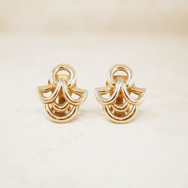 Vintage Gold Abstract Earrings by Crown Trifari, 1950s