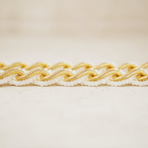 Vintage Gold Chunky Curb Chain & Pearl Braided Necklace by Trifari, 1970s