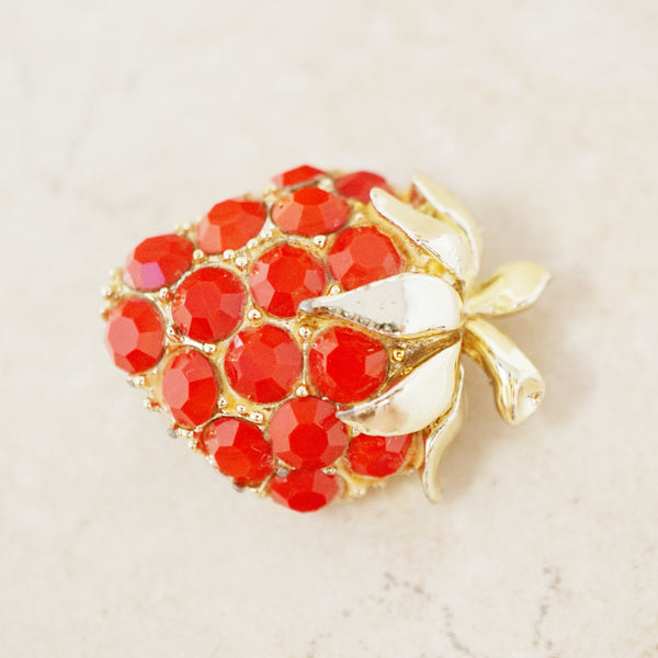 Vintage Dainty Strawberry Rhinestone Brooch, 1970s