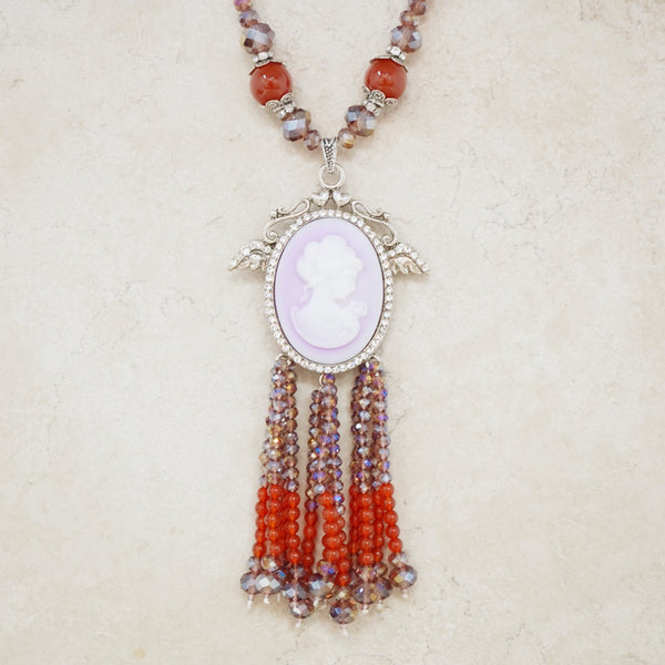 Beaded Cameo Statement Necklace