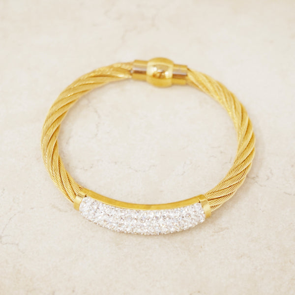 Gold Cable Bracelet with Pavé Crystal