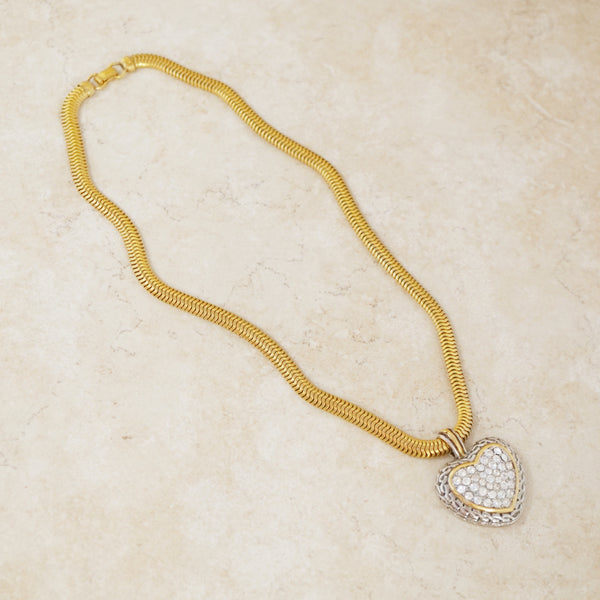 Vintage Two Tone Rhinestone Heart Necklace