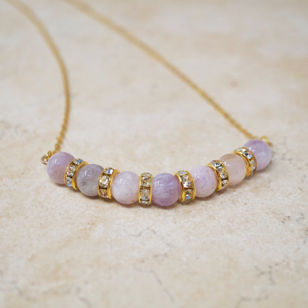 Amethyst Gemstone Bar Necklace