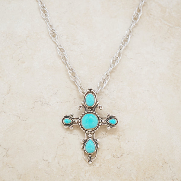 Vintage Turquoise & Sterling Silver Cross Necklace