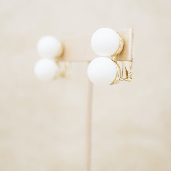 Vintage White Double Bead Earrings by Marvella, 1960s