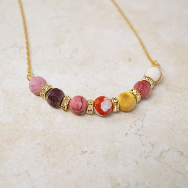 Mookaite Jasper Gemstone Bar Necklace