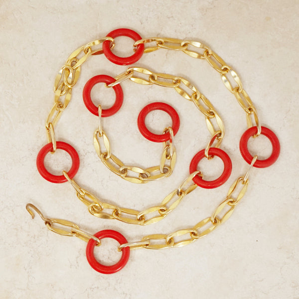 Vintage Red Ring & Chunky Chain Statement Necklace / Belt, 1960s