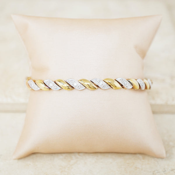Vintage Two Tone Gold Vermeil & Sterling Silver Diamond Bracelet, 1980s