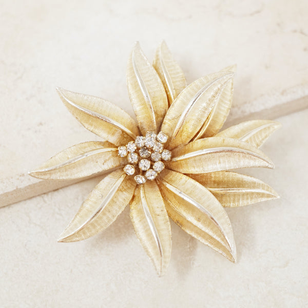 Vintage Gold Oversized Flower Brooch with Crystal Accents, 1960s