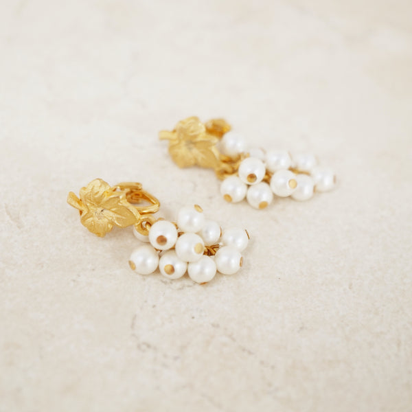 Vintage Gold Leaf & Faux Pearl Grape Dangle Earrings by Vendome, 1960s