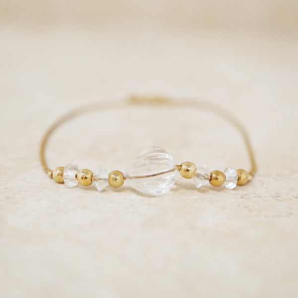 Vintage Dainty Gold Chain Bracelet with Crystal Accents, 1990s