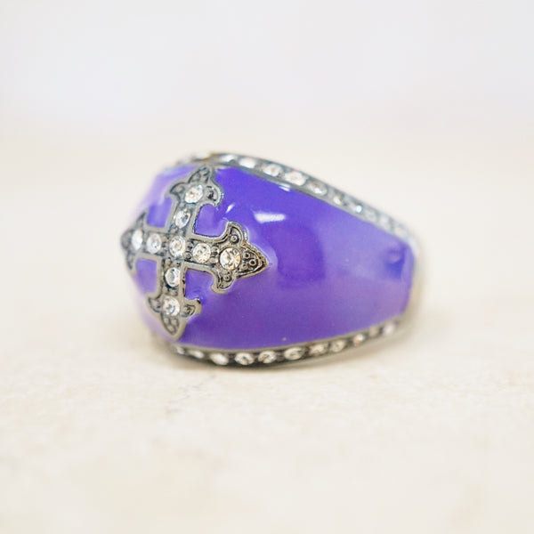 Gunmetal & Purple Enamel Crystal Cross Ring