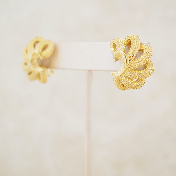 Vintage Gilded Scalloped Rope Statement Earrings by Monet, 1960s