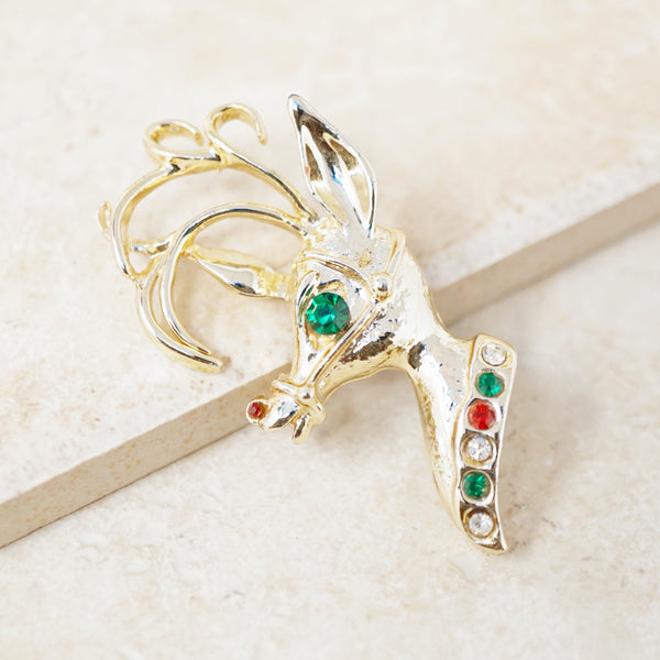 Vintage Rudolph The Red Nosed Reindeer Christmas Brooch by Tancer II, 1970s