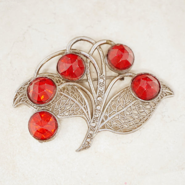 Antique Victorian Pot Metal Brooch with Red Rhinestones, c 1900