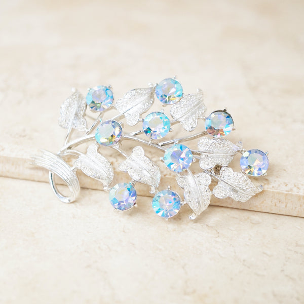 Vintage Silver Leaf Brooch with Blue Aurora Borealis Crystals by Coro, 1950s