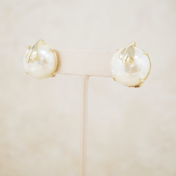 Vintage Prong Set Mabe Pearl Button Earrings, 1980s
