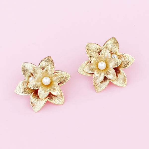 Oversized Textured Gold Flower Earrings By Sarah Coventry, 1970s