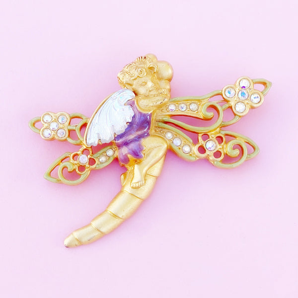 """Woodland Fairy"" Enameled Figural Brooch By Kirks Folly, 1980s"