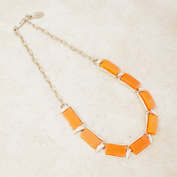Vintage Neon Orange Thermoset Necklace by Lisner, 1960s