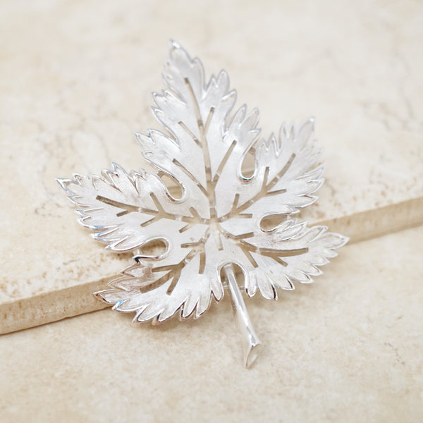 Vintage Silver Maple Leaf Brooch by Crown Trifari, 1950s